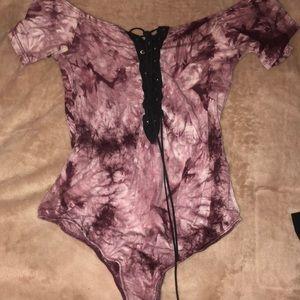 Windsor Tops - Tye dye off the shoulder body suit